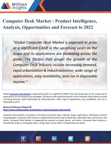 Computer Desk Market Competition by Players/Suppliers, Type and Application 2022