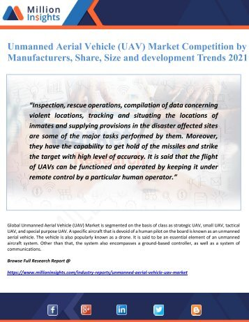 Unmanned Aerial Vehicle (UAV) Market Competition by Manufacturers, Share, Size and development Trends 2021