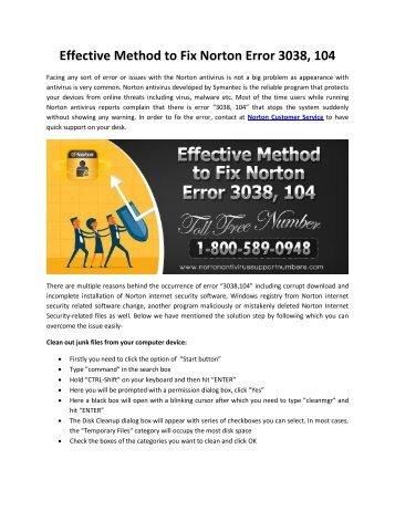 Dial +1-800-589-0948 Effective Method to Fix Norton Error 3038,104