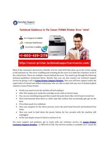 """Technical Guidance to Fix Canon PIXMA Printer Error """"6910"""""""