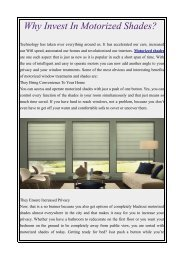 Why Invest In Motorized Shades