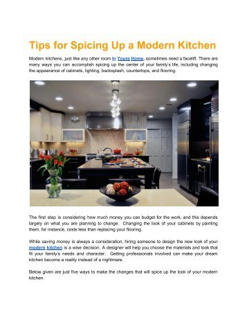 Tips for Spicing Up a Modern Kitchen