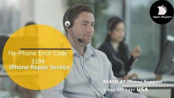 Fix Apple iPhone Error Code 3194 Call 1800-582-2431