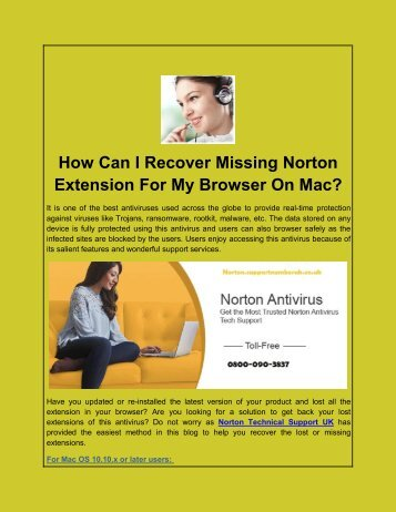 How Can I Recover Missing Norton Extension For My Browser On Mac