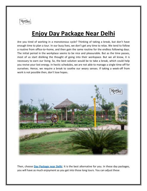 Enjoy Day Package Near Delhi with TheRurBanVillage