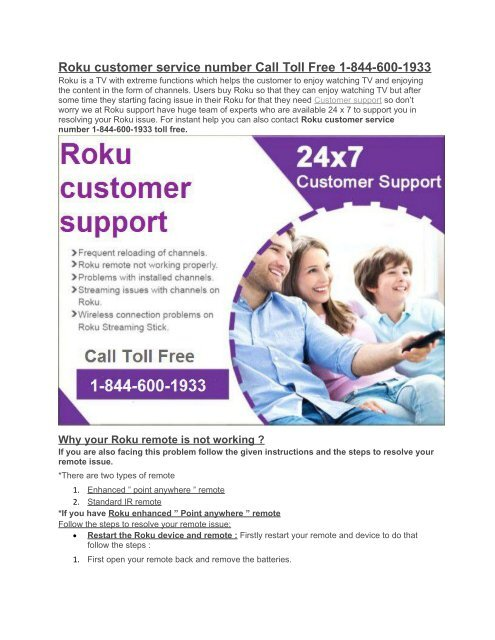 Roku support number 1-844-600-1933 toll free