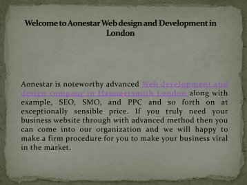 Best Web design and Development Company in Hammersmith London -Aonestar