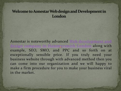 Best Web Design And Development Company In Hammersmith London Aonestar