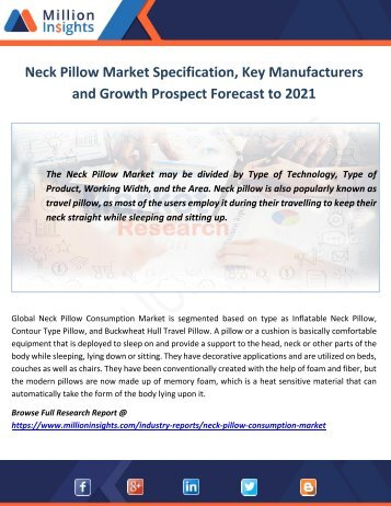 Neck Pillow Market Specification, Key Manufacturers and Growth Prospect Forecast to 2021