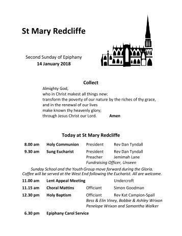 St Mary Redcliffe Church Pew Leaflet - January 14 2018