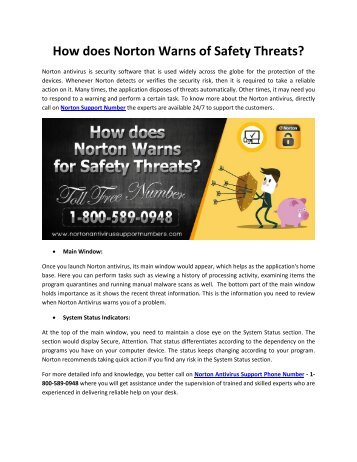 How does Norton Warns of Safety Threats?