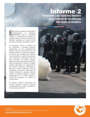 COFADEH. Informe violaciones a DH   en contexto protesas anti fraude en Honduras No.2(1)