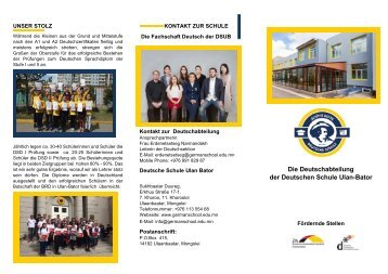 Broschüre der Deutschsektion der Deutschen Schule Ulan-Bator