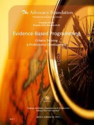 Evidence-Based Programming - Criteria Training and Professional Development - Vol. I