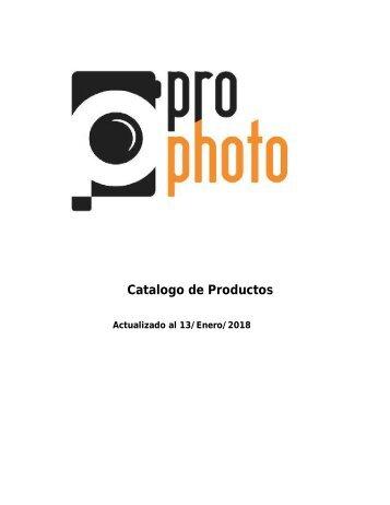 Catalogo ProPhoto actualizado al 13 de Enero 2018