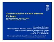 S i l P t ti i Fi l Sti l Social Protection in Fiscal Stimulus Packages
