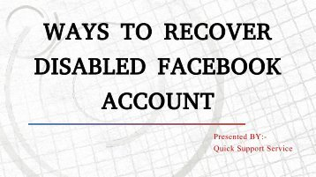 Tips To Recover Disabled Facebook Account