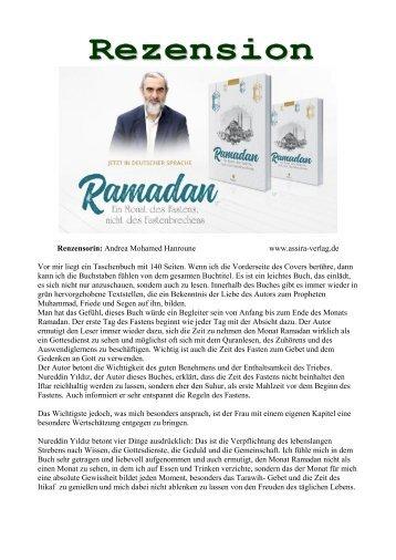 """Rezension"""" Ramadan, Ein Monat des Fastens, nicht des Fastenbrechens"""" von Nureddin Yıldız"""
