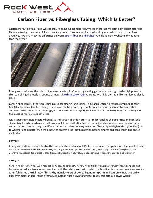 Carbon Fiber vs  Fiberglass Tubing: Which Is Better?