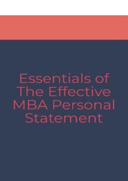 Essentials of an Effective MBA Personal Statement
