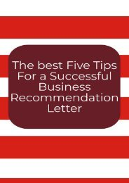 The Best Five Tips for a Successful Business Recommendation Letter