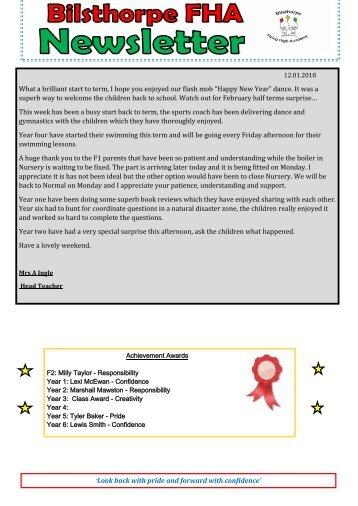 BFHA - Newsletter 13  12.01.18