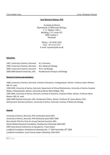 Curriculum Vitae Lene Niemann Nejsum 1 Page Assistant Inano