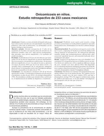 Onicomicosis en niños. Estudio retrospectivo de 233 casos mexicanos