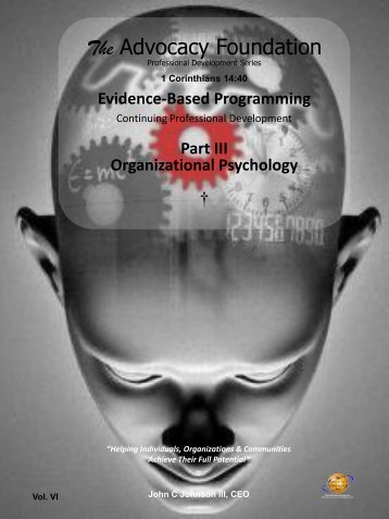 Organizational Psychology - Vol. VI, Part III