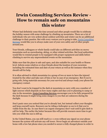 Irwin Consulting Services Review - How to remain safe on mountains this winter