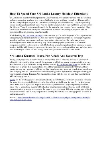 Luxury Holidays Tour Packages In Sri Lanka