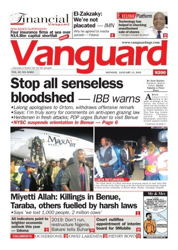 15012018 - Stop all senseless bloodshed — IBB warns