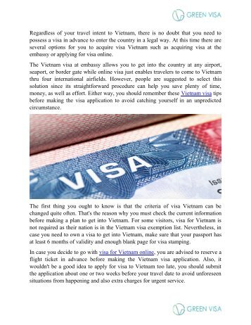 Online visa for Vietnam guide