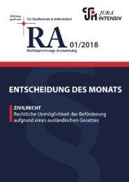 RA 01/2018 - Entscheidung des Monats