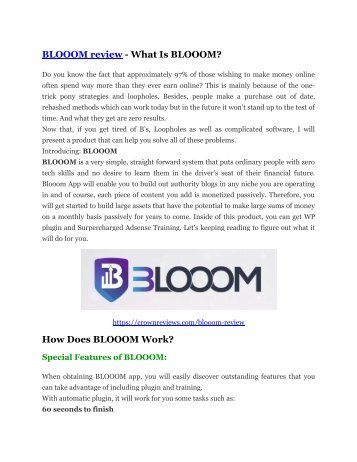 BLOOOM Review and BLOOOM (EXCLUSIVE) bonuses pack