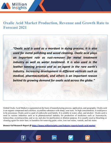 Oxalic Acid Market Production, Revenue and Growth Rate to Forecast 2021