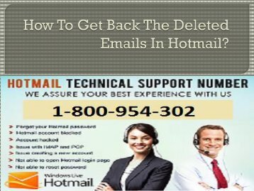How to get back the deleted emails in Hotmail