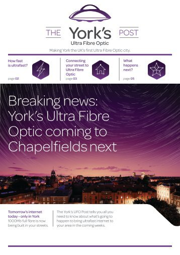 TalkTalk York's Ultra Fibre Optic Newsletter Jan 2018 - Chapelfields