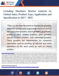 Grinding Machines Market Size, Share, Consumption Analysis Report 2022 by Million Insights
