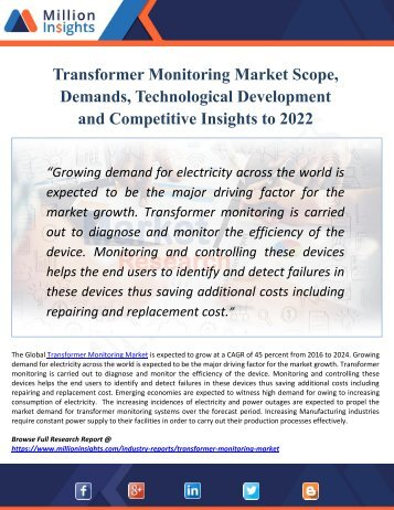 Transformer Monitoring Market By Key Players, Growth Factors, Regions And Applications, Industry Forecast By 2022