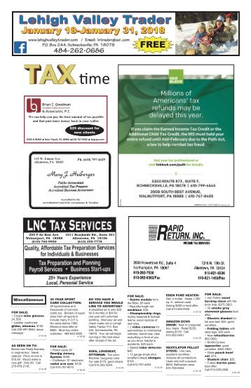 Lehigh Valley Trader January 18-January 31, 2018 issue