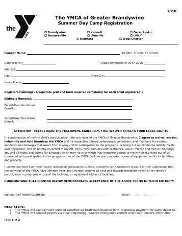 2018 - Camp Lenni Lenape (Kennett Area YMCA) Registration Form