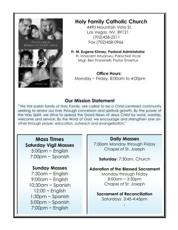 Sunday Masses - Diocese of Las Vegas