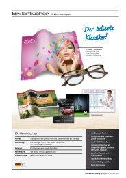 Werbemittel Brillentuch, Brillenreinigungstuch, Brillenputztuch, Druck vollflächig
