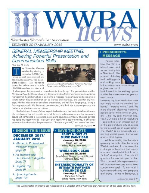WWBA Dec 2017 - Jan 2018 Newsletter