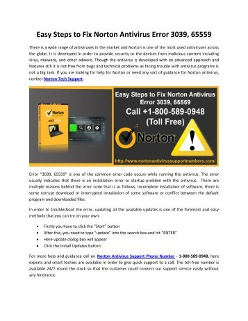 Easy Steps to Fix Norton Antivirus Error 3039, 65559