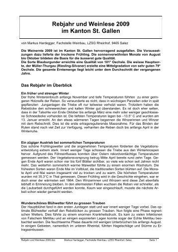 Rebjahr und Weinlese 2009 im Kanton St. Gallen - landwirtschaft.sg ...