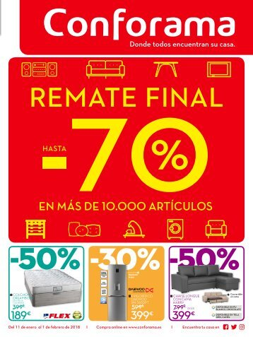 Conforama REMATE FINAL hasta 1 de Febrero 2018