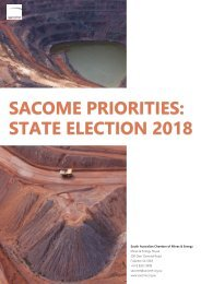 SACOME Priorities: State Election 2018