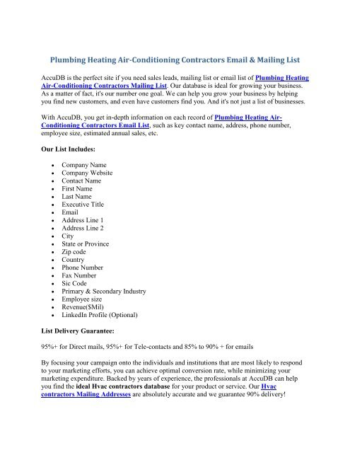 Hvac contractors Email list - Hvac contractors Mailing Lists - AccuDB